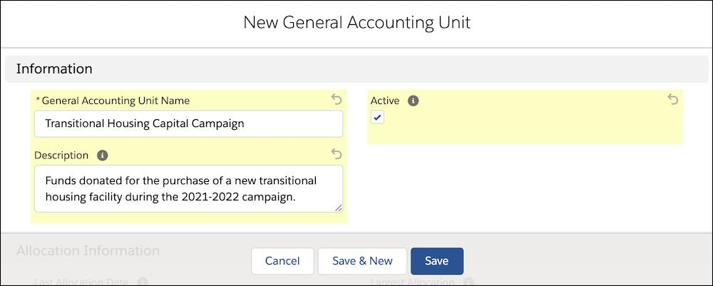 The New General Accounting Unit interface