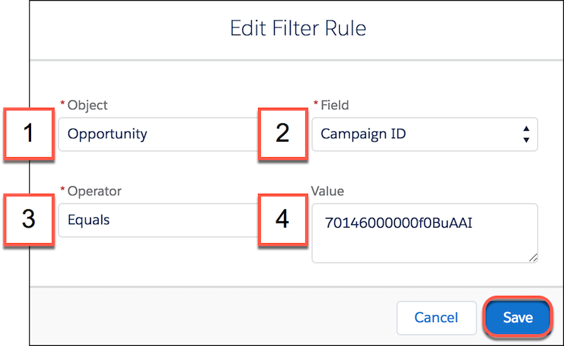 Filter rules in the customizable rollups settings