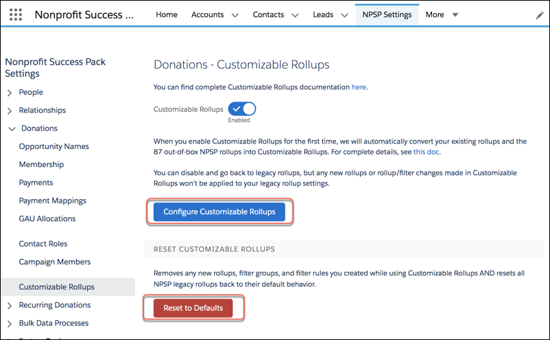 Customizable Rollups configuration settings page within NPSP Settings