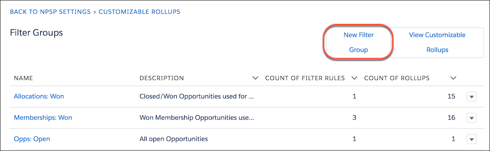 Customizable rollups, highlighting New Filter Group button
