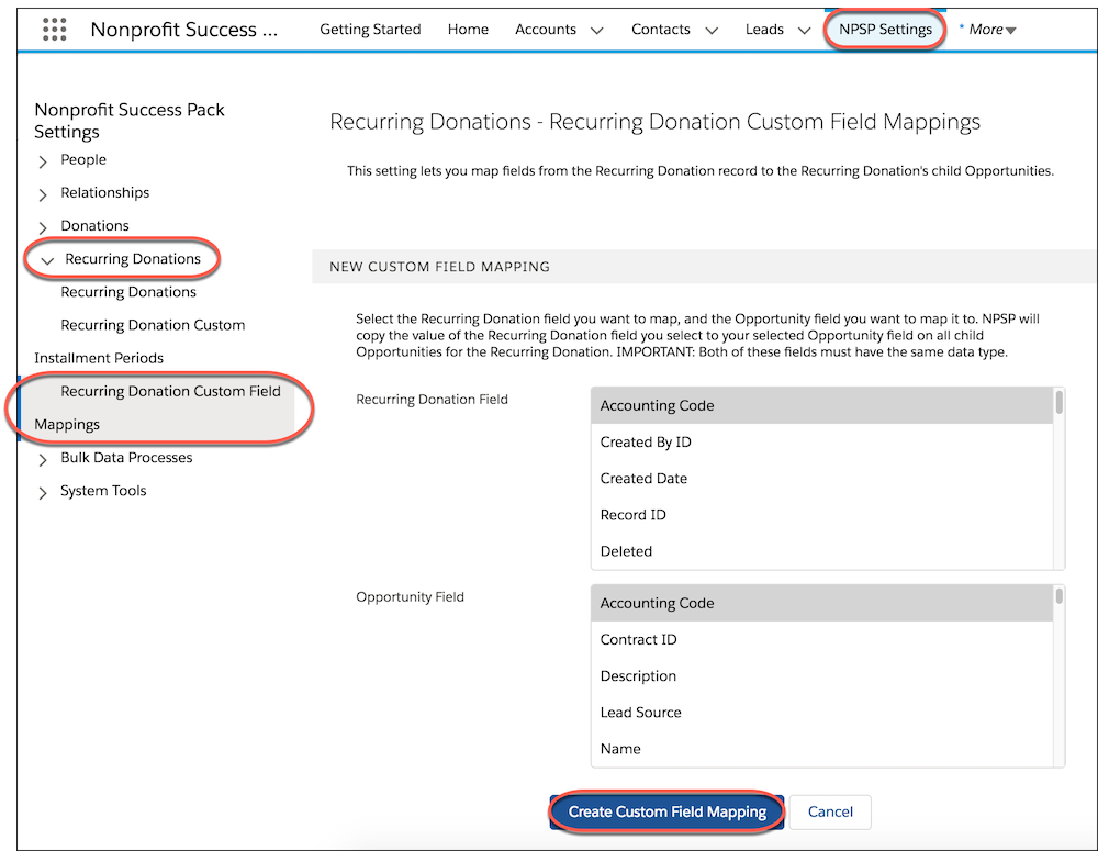 Recurring donations settings custom field mapping form