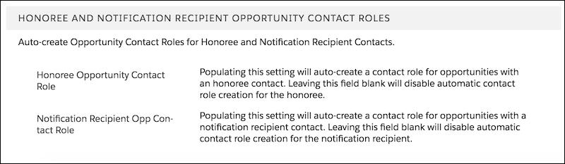 Honoree options in NPSP settings