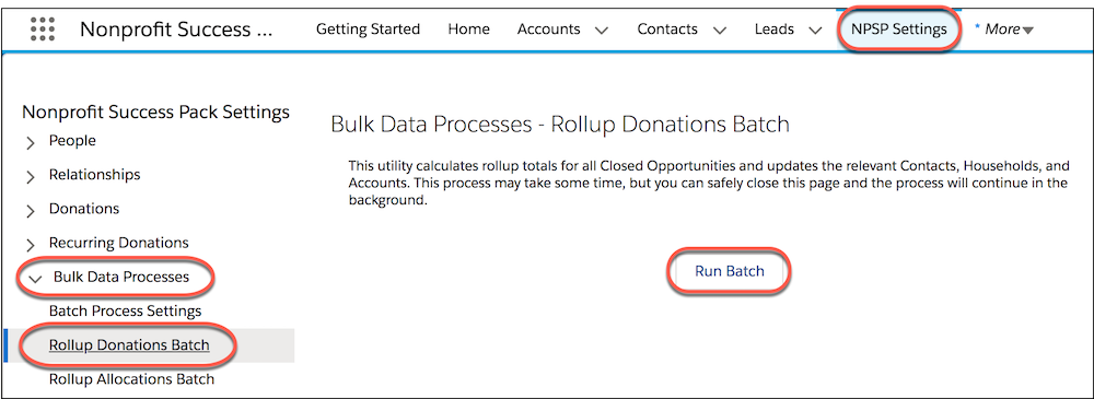 NPSP Settings Bulk Data Processes