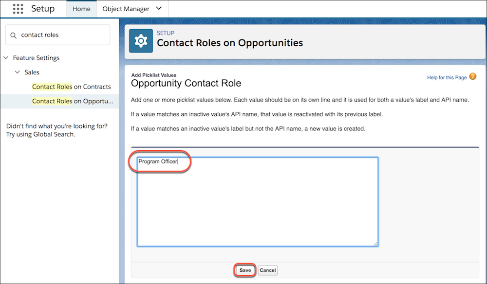 Add contact role picklist values