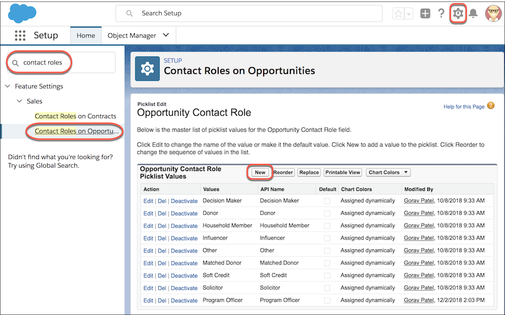 Setup Contact Roles on Opportunities page