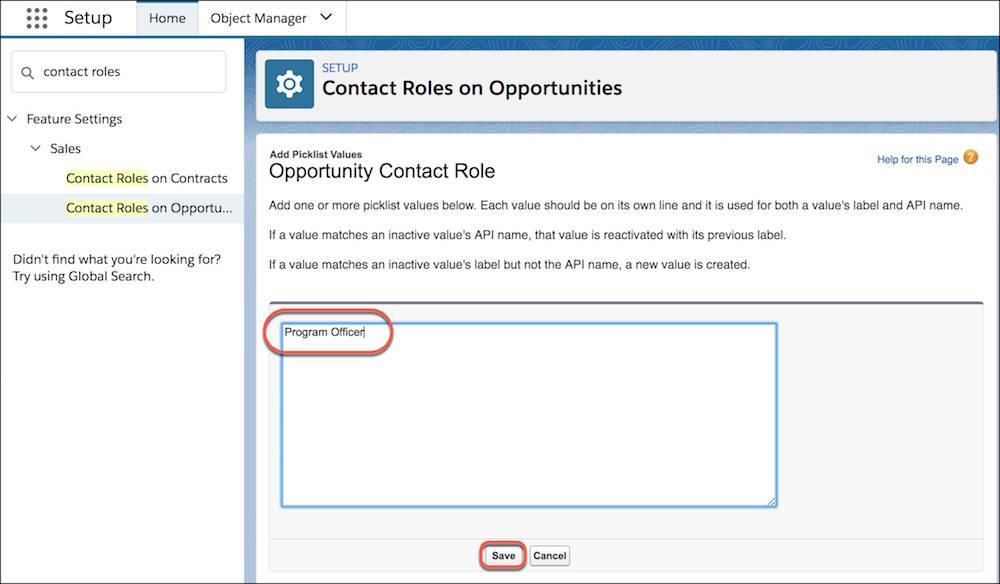 Hinzufügen von Auswahllistenwerten für Kontaktrollen