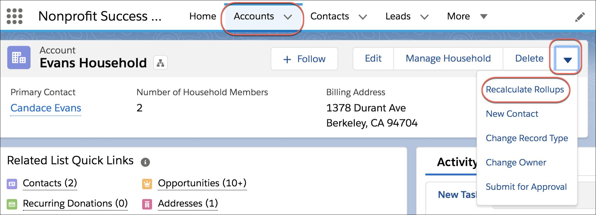 Fonctionnalité Recalculer des cumuls dans un enregistrement de compte ou de contact individuel