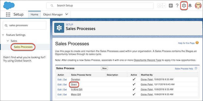 NPSP sales processes menu location