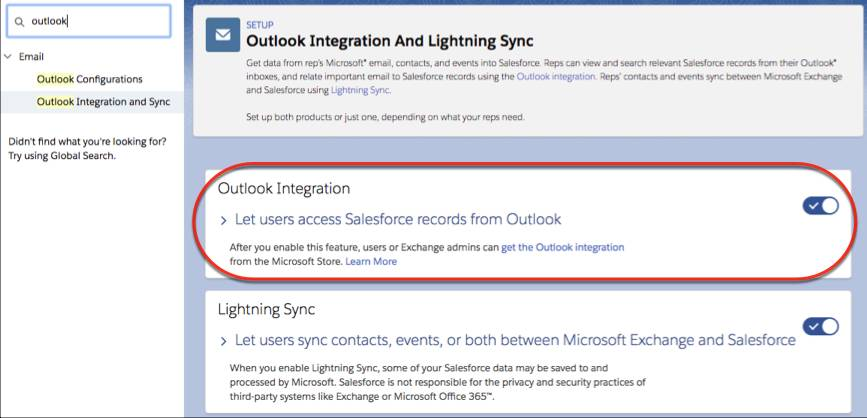 Setting to turn on the Outlook integration