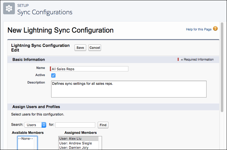 Settings for new Lightning Sync configuration