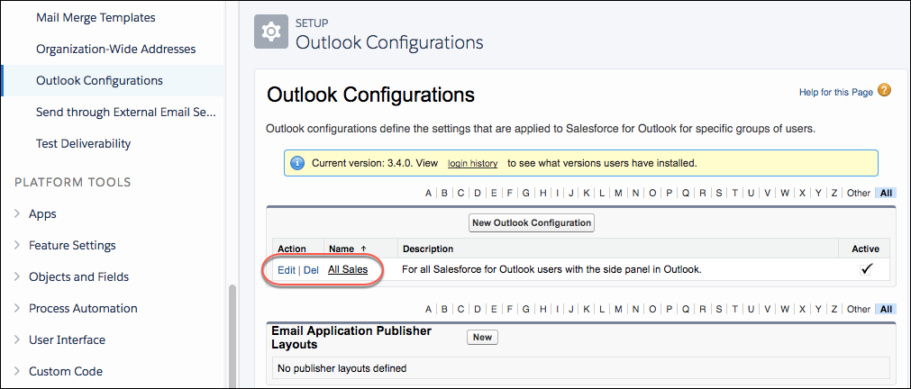 Available Outlook configurations