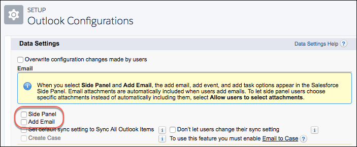 Data Settings for side panel and add email