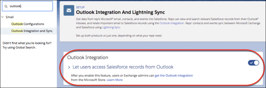 Setting to turn on the Outlook integration highlighted