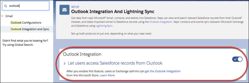 Como configurar a ativação da integração com o Outlook em destaque