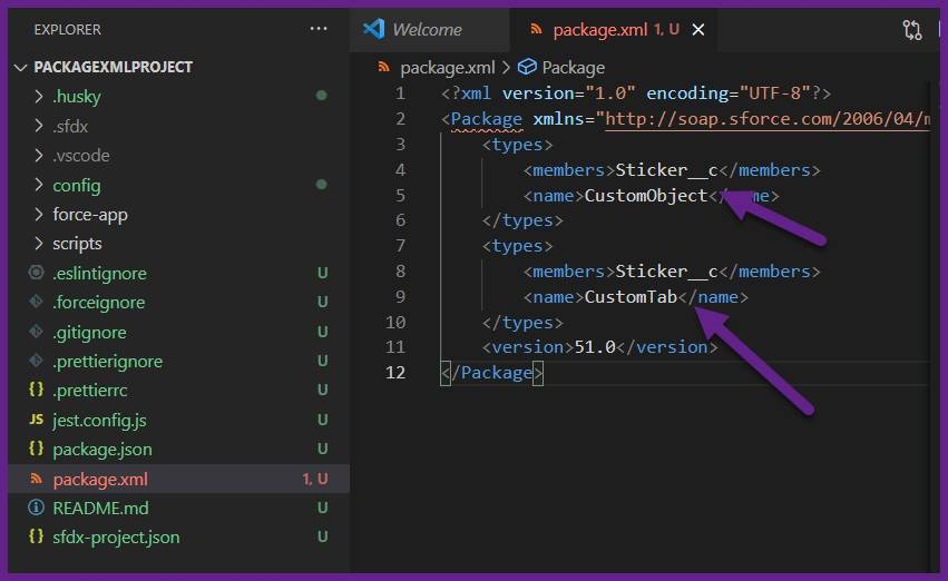 Snapshot of a package.xml with metadata components.