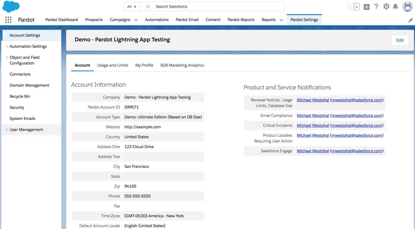 The Pardot Settings home page