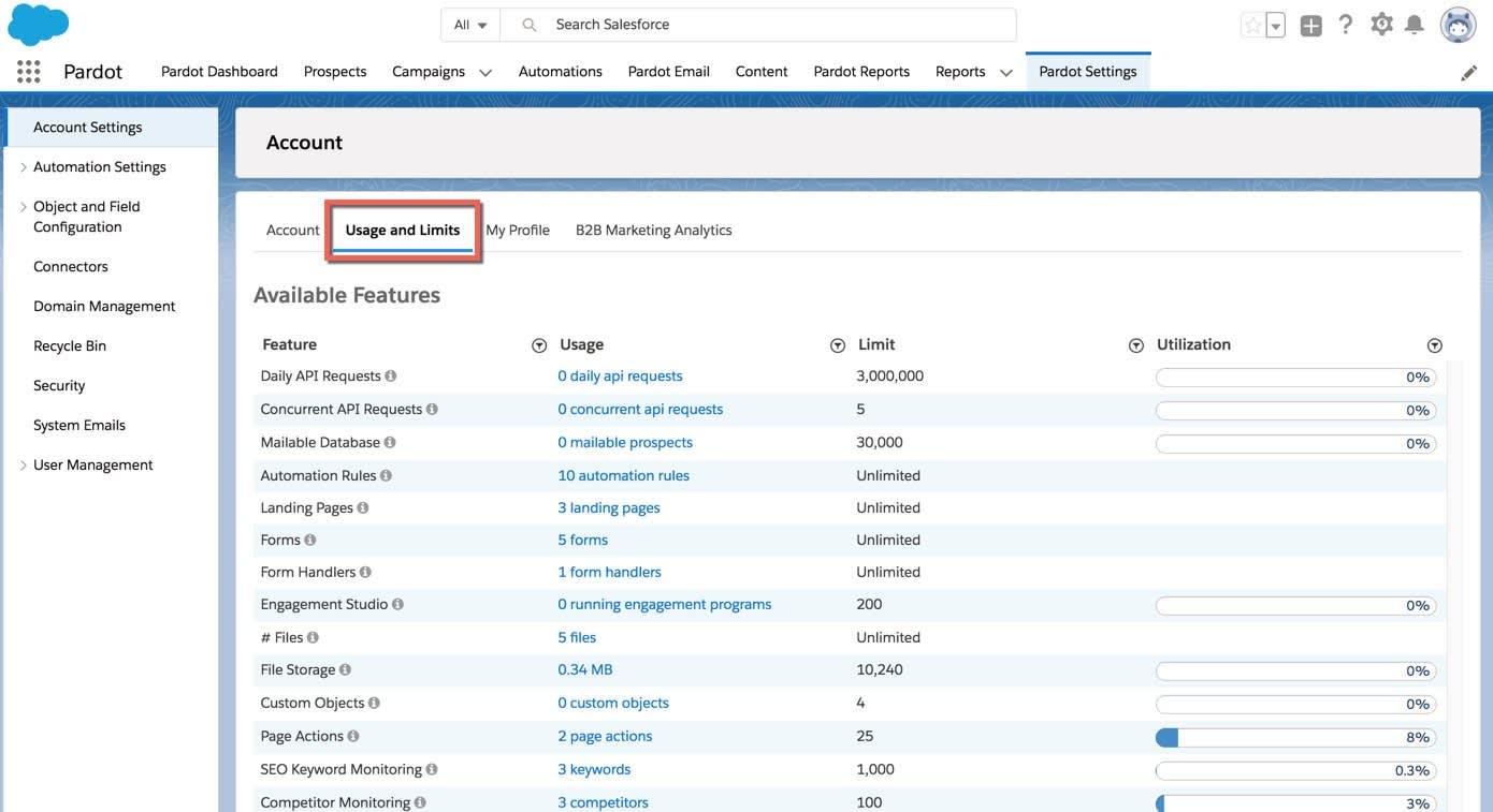 La página Configuración de Pardot con la ficha Uso y límites resaltada