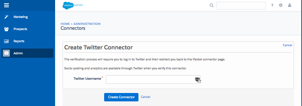 The Create Twitter Connector screen