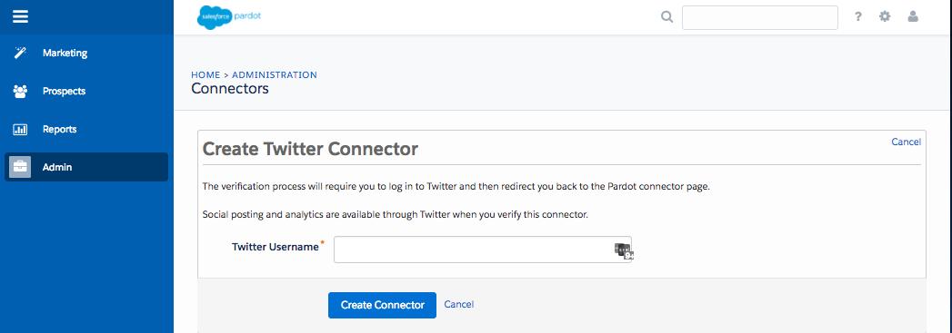 Der Bildschirm 'Twitter-Konnektor erstellen'