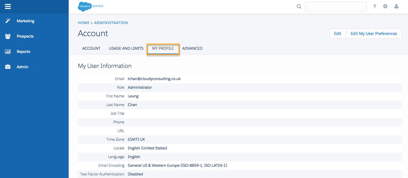 Pardot のアカウント設定ページ。[私のプロファイル] タブが強調表示されています。
