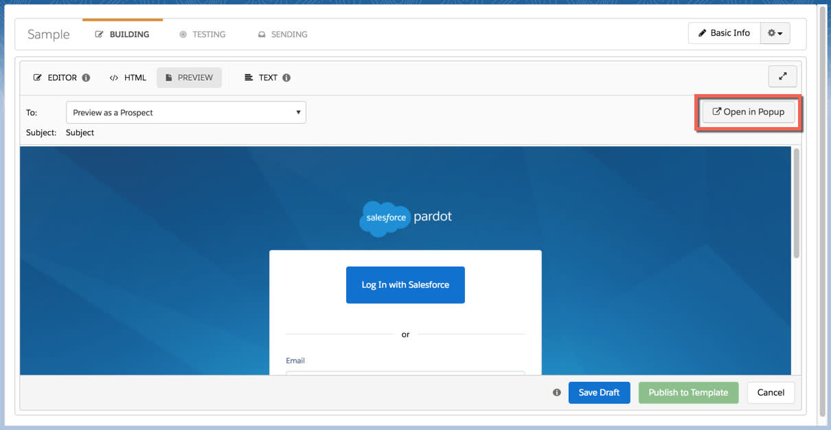 Create an Email Template in Pardot Lightning App Unit Salesforce