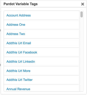 List of available variable tags in Pardot.