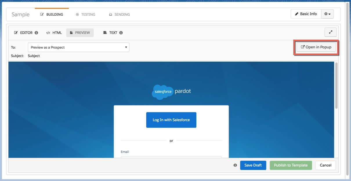 [ポップアップで開く] ボタンをクリックしてメールテンプレートをサイズ変更可能なウィンドウで開く。