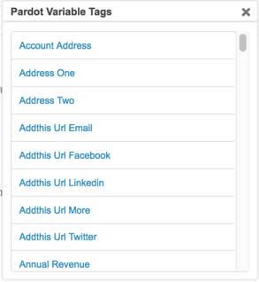 Pardot で使用可能な変数タグのリスト。