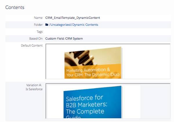 [CRM System (CRM システム)] カスタム項目の項目バリエーションのデフォルト画像と Salesforce の画像を表示するダイナミックコンテンツ。