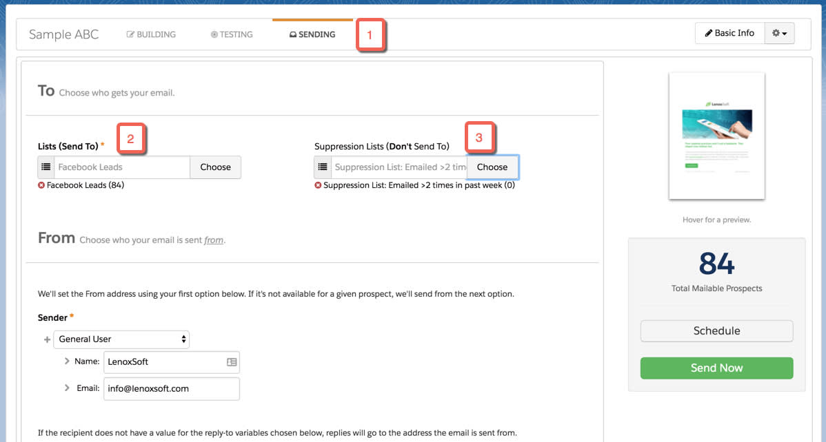 In the Sending tab, choose your recipient and suppression lists for your email send.