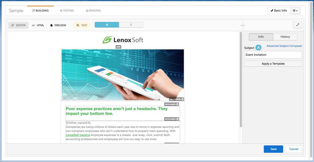 Web セミナー招待メールのバージョン A で変更された件名行が表示される。