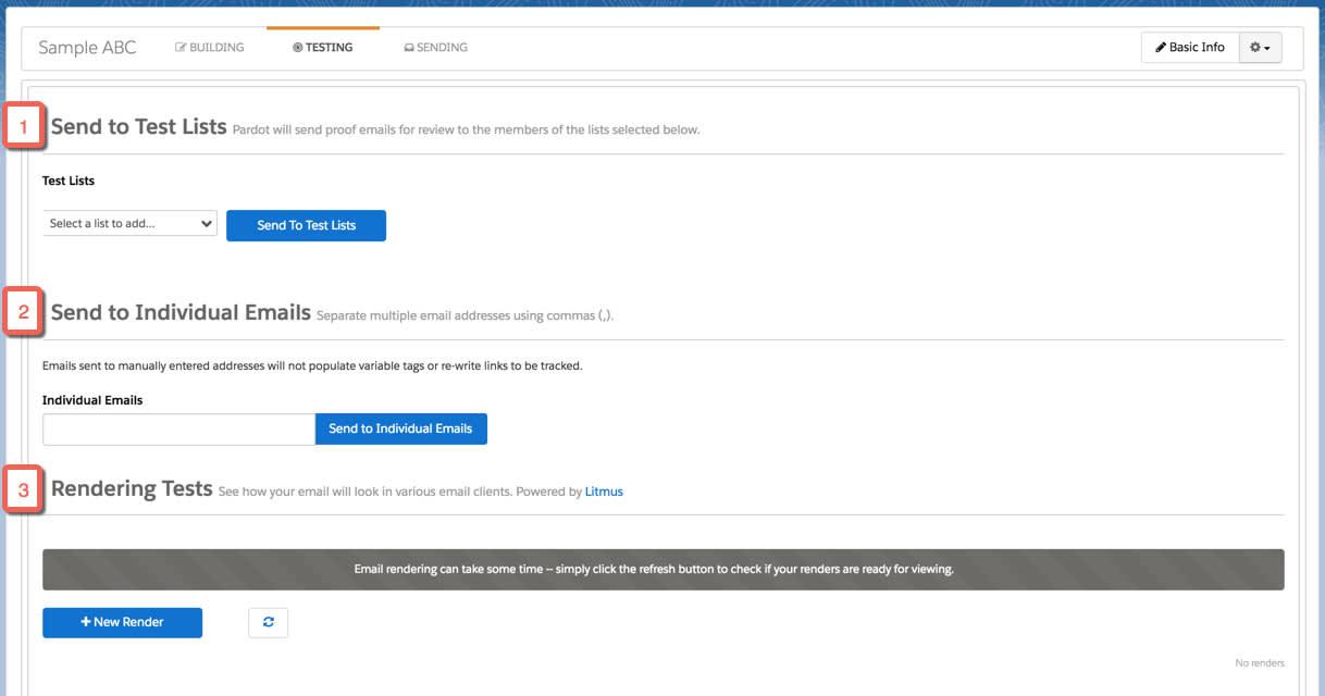 [テスト] タブでは、メールをテストリストまたは個人のメールアドレスに送信でき、さまざまなメールクライアントでメールテンプレートがどのように表示されるかをテストできる。