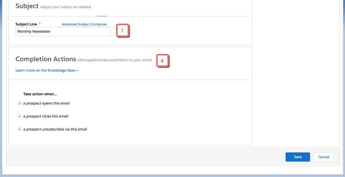 送信前に、件名行を編集するか、Advanced Subject Composer を使用して変数タグを件名に含め、省略可能な完了アクションをメールに追加することができる。
