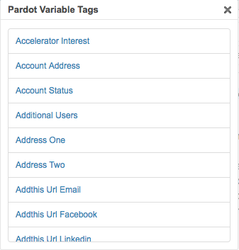 List of available variable tags in Pardot
