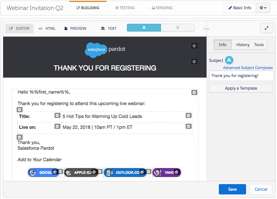 Version A of the Webinar Invitation email template shows a changed subject line