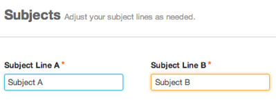 Subject Line A and Subject Line B have different subject lines, so the text box for Subject Line A is blue. The text box for Subject Line B is orange.