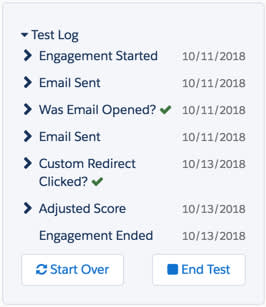 The test log shows the steps taken as the test prospect moves through the engagement program.