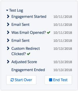 テストログには、テストプロスペクトが Engagement プログラムを進みながら実行したステップが表示されます。