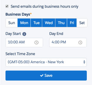 You set your custom business hours when you create your engagement program.
