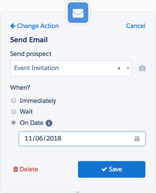 特定の日付にメールを送信するアクション。