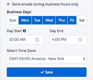 You set your custom business hours when you create your engagement program
