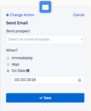 select the Action step, choose Send Email, and then enter your send date
