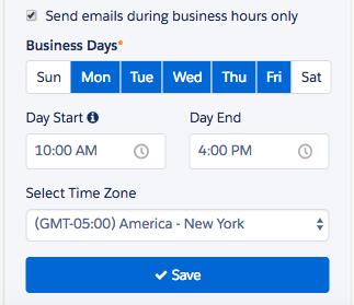 カスタム業務時間は Engagement プログラムを作成するときに設定します。