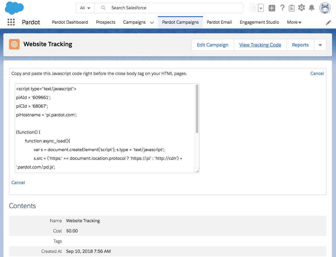 Pardot Campaigns Website Tracking code