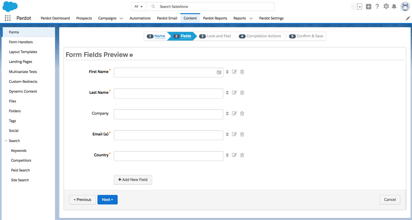 Step 2 of the Pardot form wizard with the First Name, Last Name, Company, Email and Country fields added.