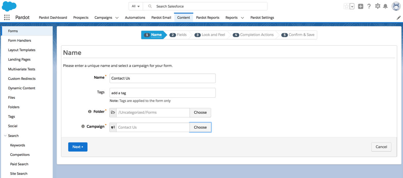 Step 1 of the Pardot form wizard. The form is named Contact Us and is part of the Contact Us campaign