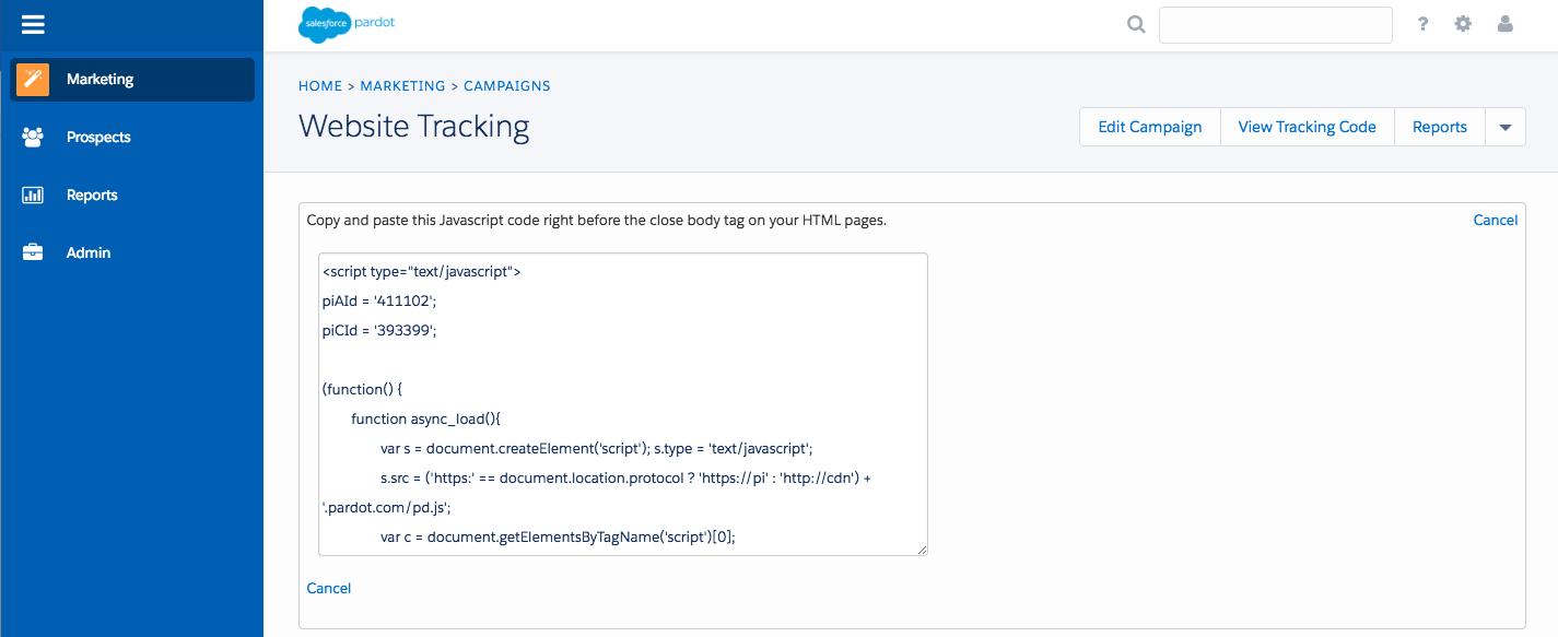 Pardot tracking code for the Website Tracking campaign
