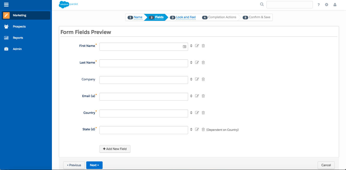 Step 2 of the Pardot form wizard with the First Name, Last Name, Company, Email and Country and State fields added. The State field is dependent on the field value in the Country field.