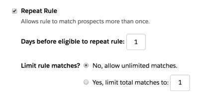 繰り返しルールのチェックボックスをオンにすると、プロスペクトを複数回照合することができ、ルールを繰り返すまでの待機期間も設定できます。また、ルールとの照合を特定の回数に制限できます。