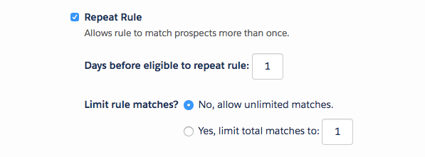 Enabling the repeat rule checkbox allows you to match prospects more than once and set a time period to wait before repeating the rule. You can also limit rule matches to a specific number.
